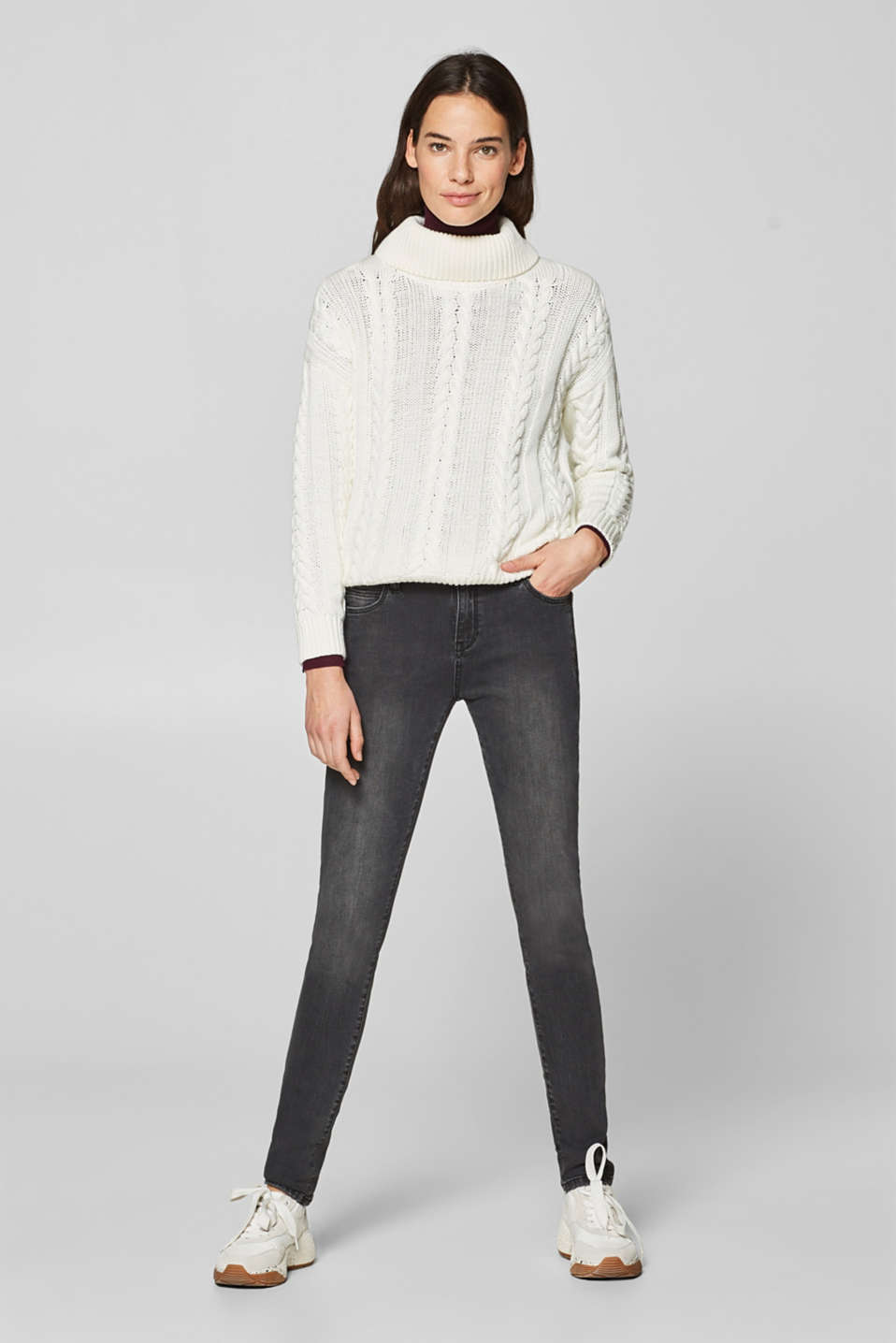 Esprit - Stretch jeans with zip details