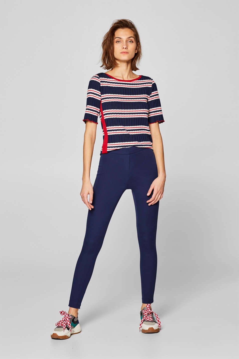 Esprit - Firmer stretch trousers with striped elasticated waistband