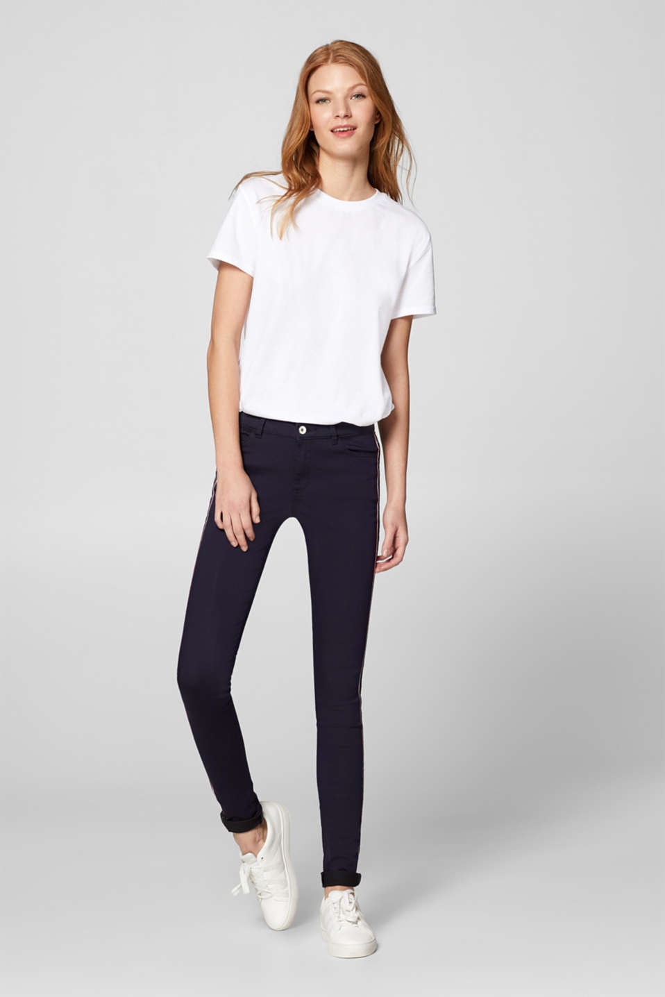 Esprit - Stretch trousers with a striped woven tape appliqué