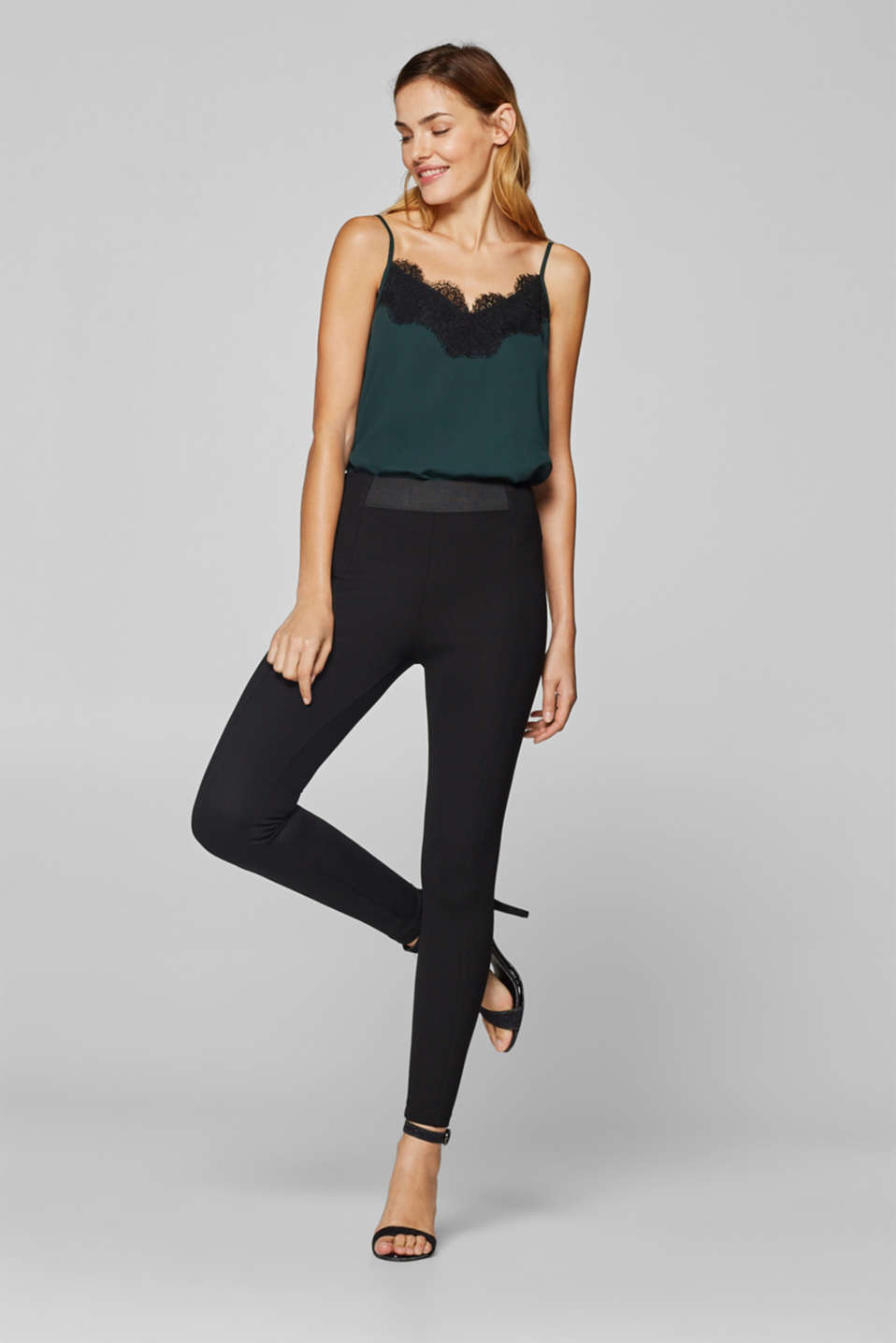 Esprit - Stretch jersey trousers with elasticated waistband