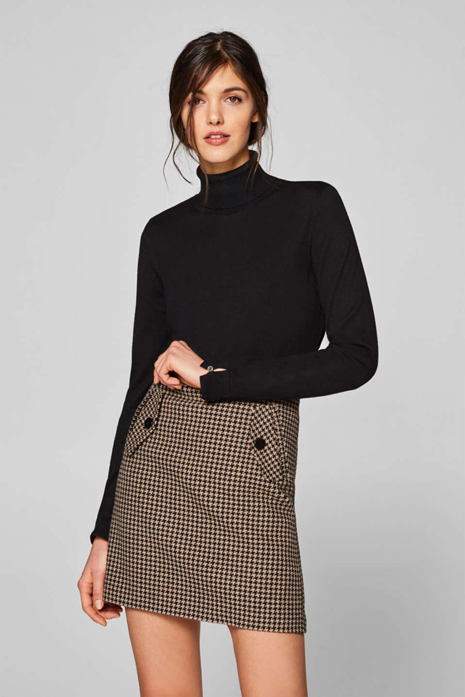 Esprit - Skirt with a houndstooth pattern in a woollen look
