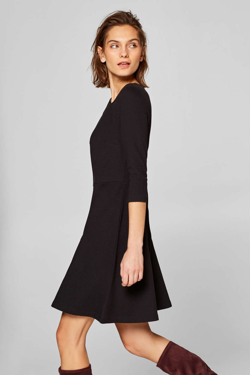 Esprit - Textured stretch jersey dress
