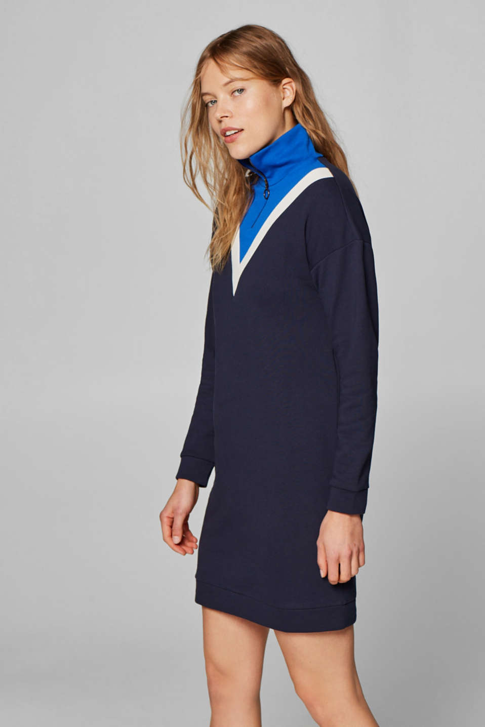 Esprit - Cotton sweatshirt dress with a zip-up collar