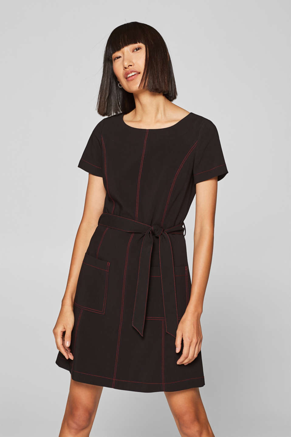 Esprit - Stretch dress with contrast stitching and front pockets