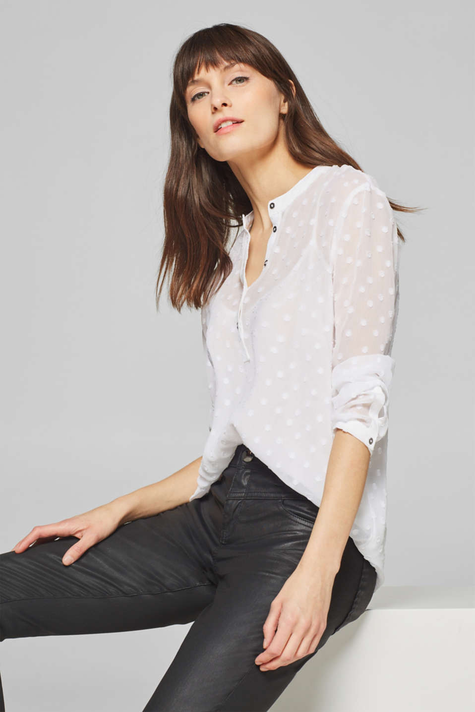 Esprit - Sheer chiffon blouse with woven polka dots