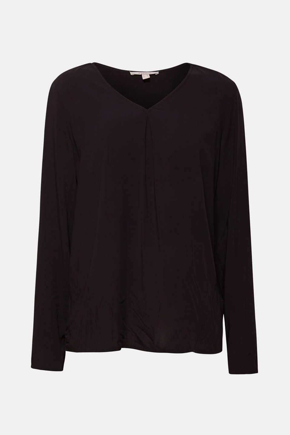V-neck blouse top with a front pleat, BLACK, detail image number 5