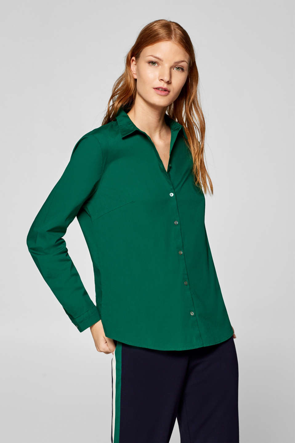 Stretch cotton blouse with organic cotton, DARK GREEN, detail image number 0