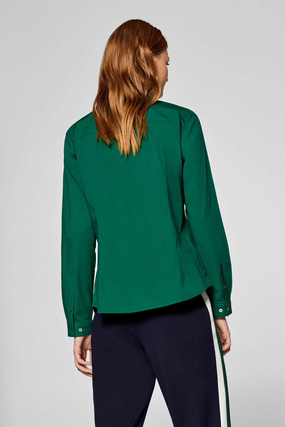 Stretch cotton blouse with organic cotton, DARK GREEN, detail image number 3