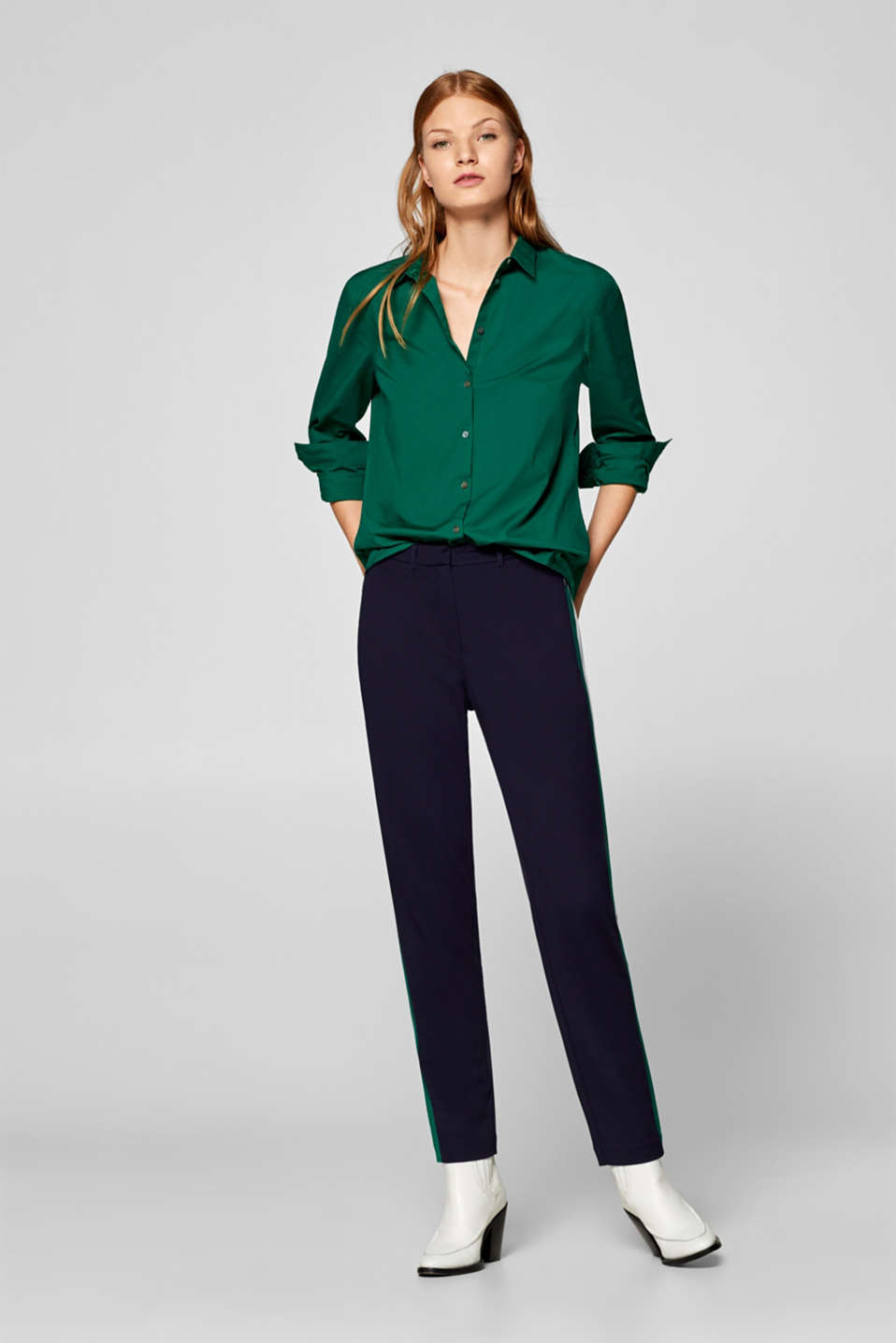 Stretch blouse with organic cotton, DARK GREEN, detail image number 6