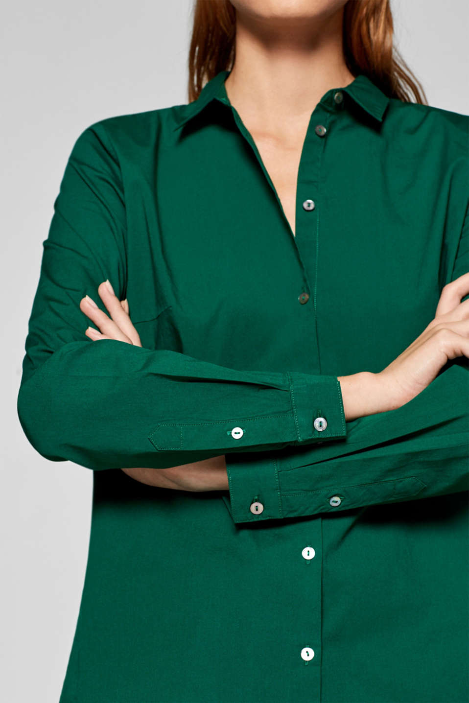 Stretch cotton blouse with organic cotton, DARK GREEN, detail image number 2
