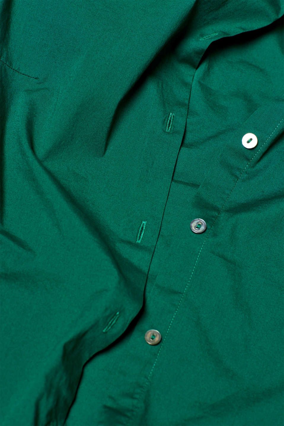 Stretch cotton blouse with organic cotton, DARK GREEN, detail image number 4