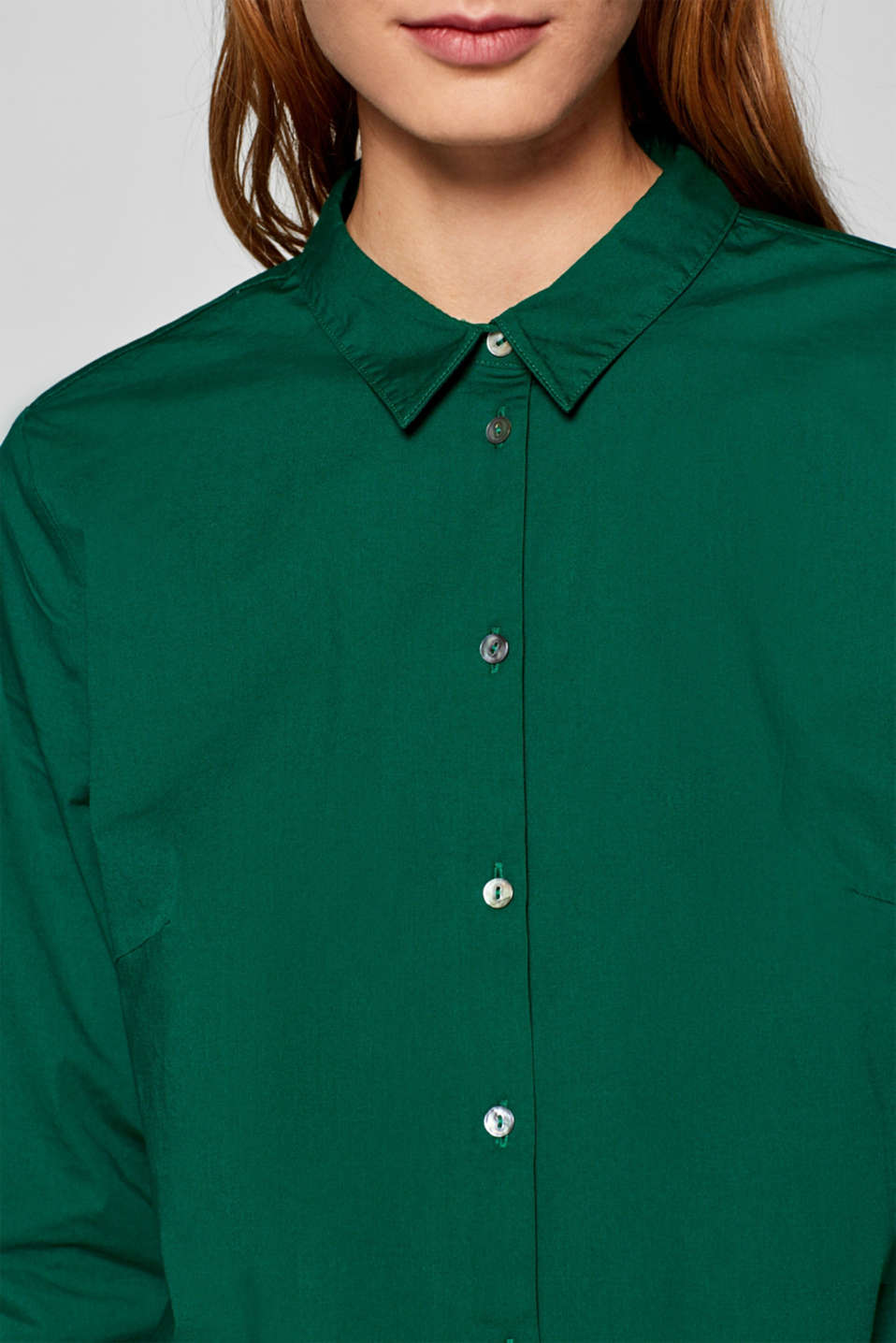 Stretch cotton blouse with organic cotton, DARK GREEN, detail image number 5
