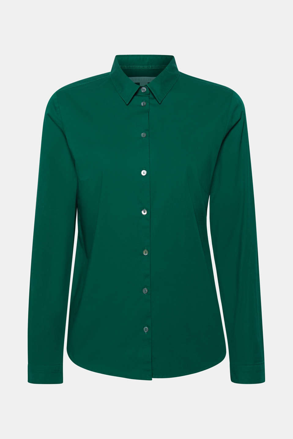 Stretch cotton blouse with organic cotton, DARK GREEN, detail image number 7