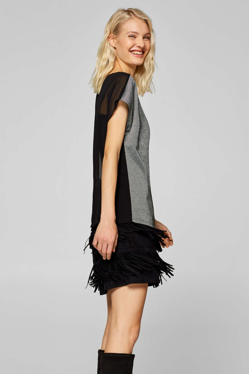 Esprit - Blouse top in glitter jersey and chiffon