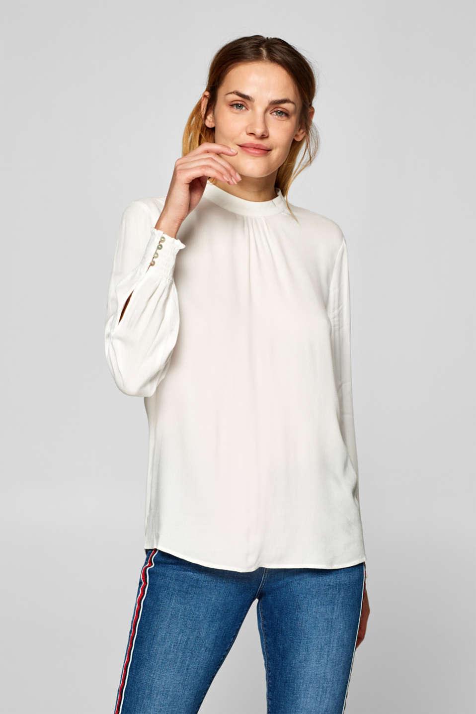 Esprit - Stehkragen-Bluse mit Smok-Bündchen im Online Shop kaufen fe0065f91d
