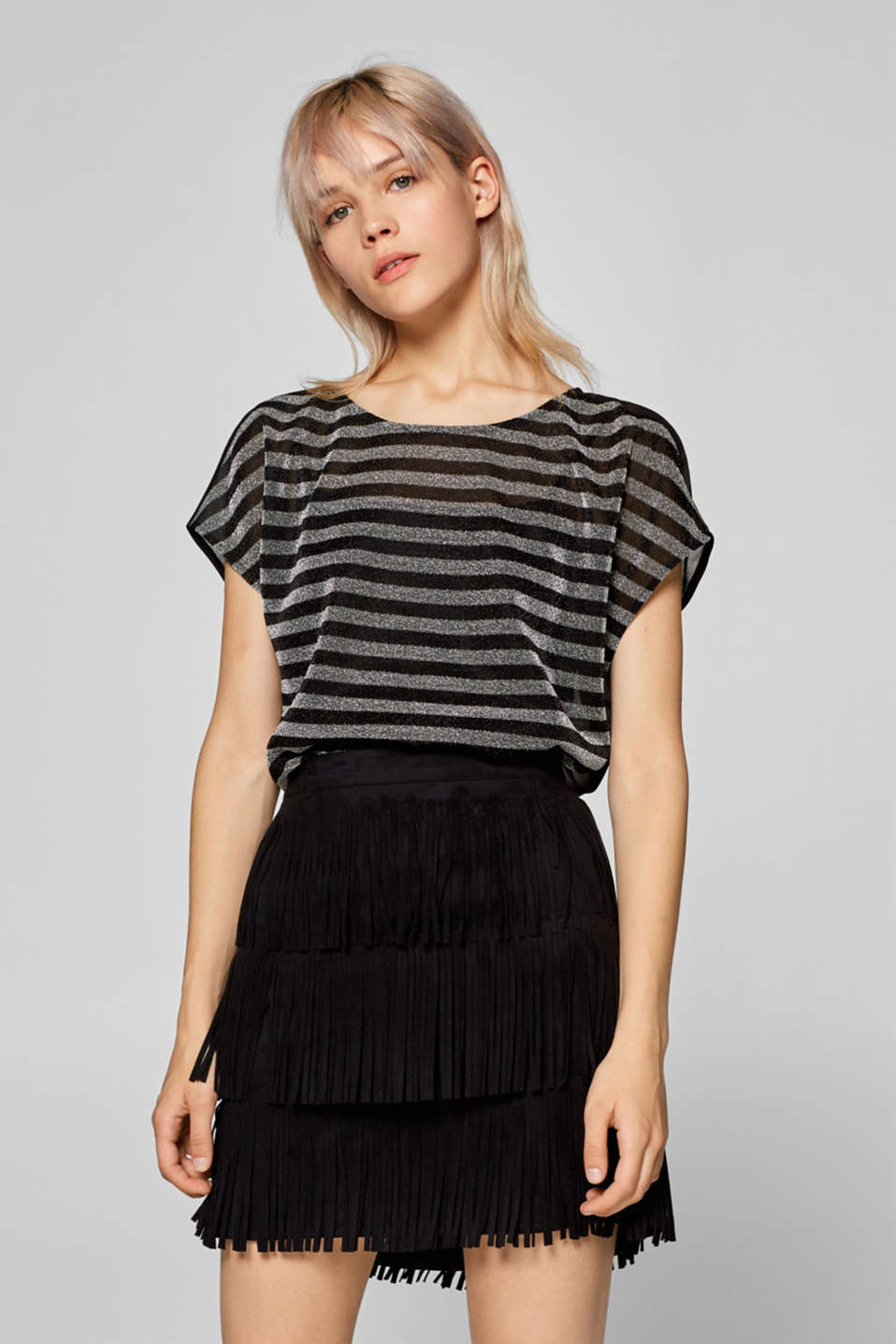 Esprit - 2-in-1 T-shirt with glittering stripes and stretch top