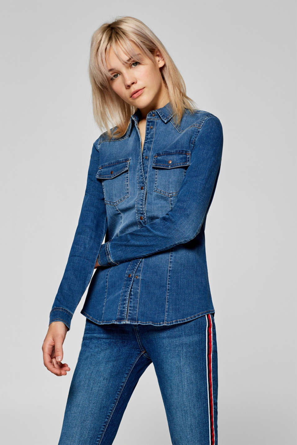 Esprit - Lightweight, stretch denim shirt