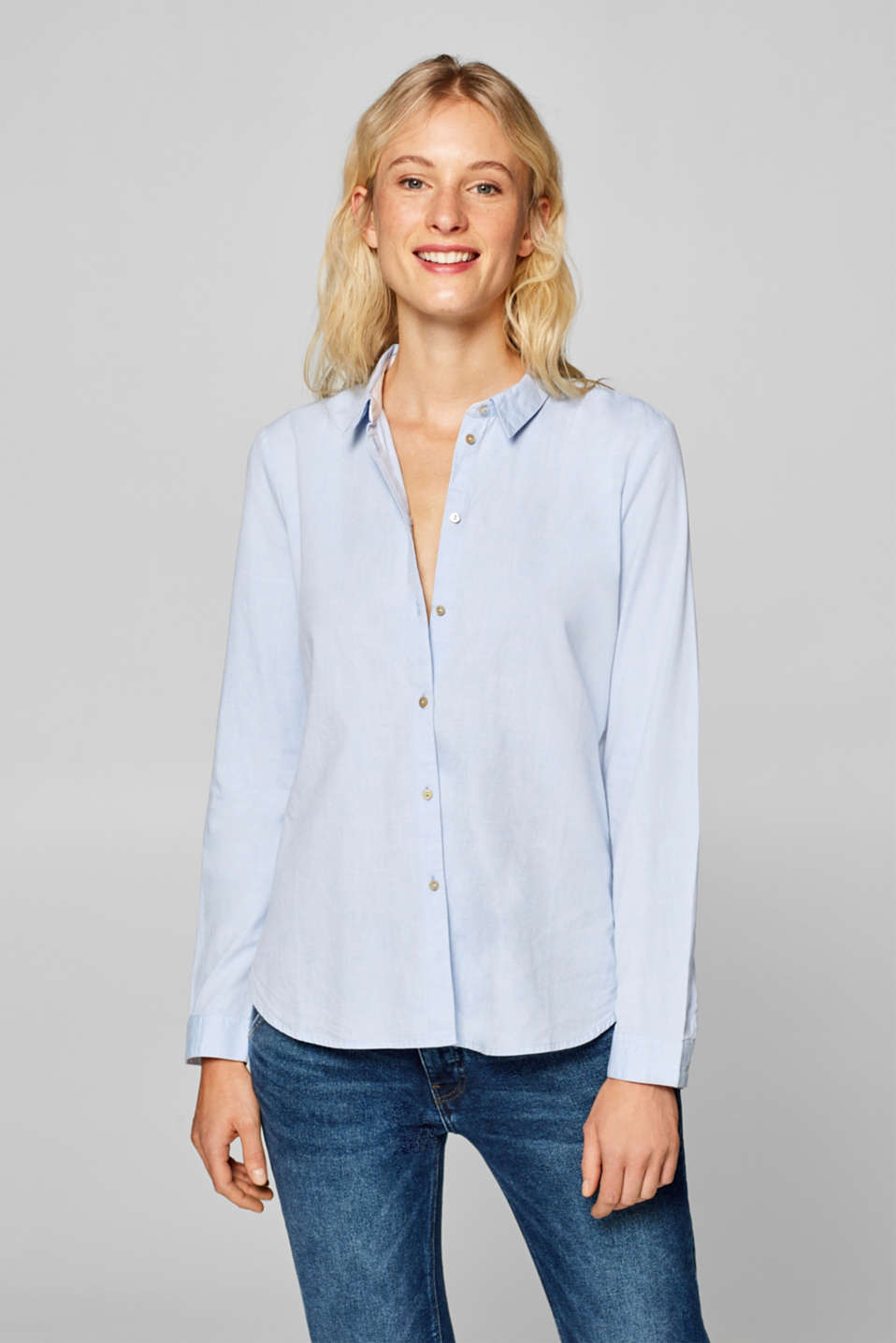 Esprit - Shirt blouse in chambray, 100% cotton
