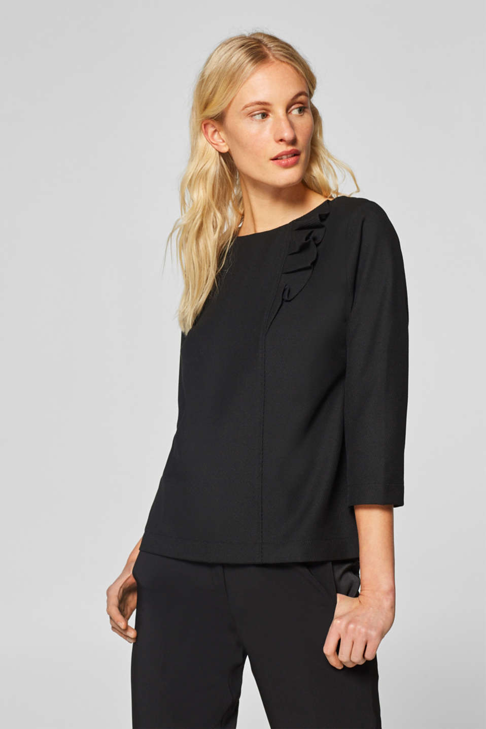 Esprit - Stretchy ribbed texture top with frill details
