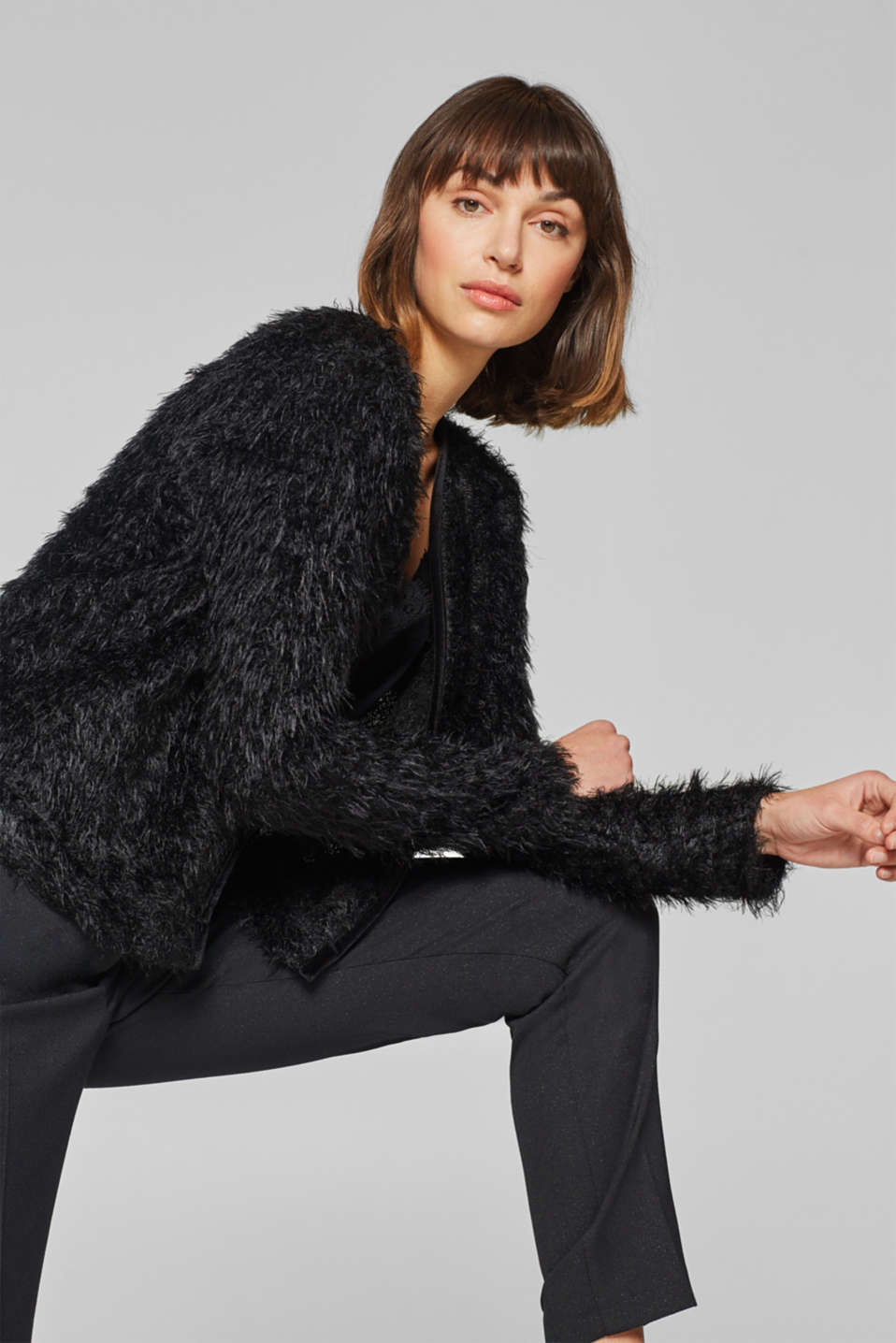 Esprit - Cropped cardigan with velvet piping