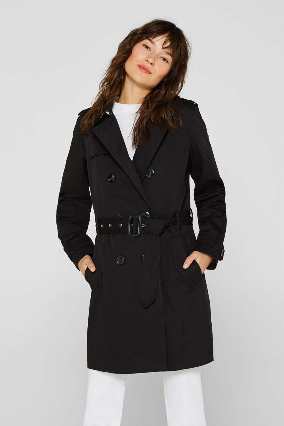 Esprit - Trenchcoat i bomull med skärp i Esprits Online-Shop 96d88a3810f11