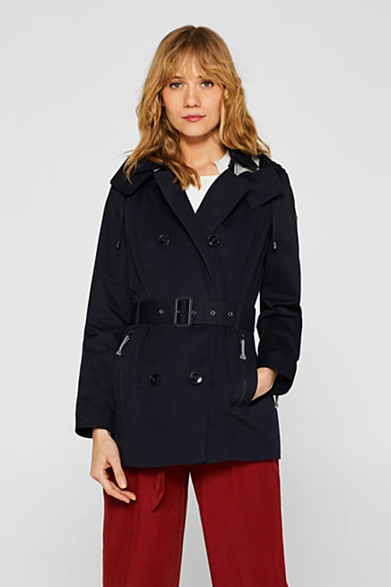 078114a6823 Double-breasted trench coat with a button-off hood