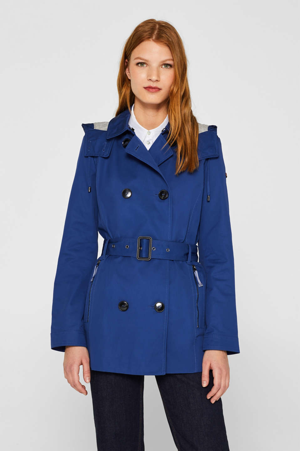 Esprit - Double-breasted trench coat with a button-off hood