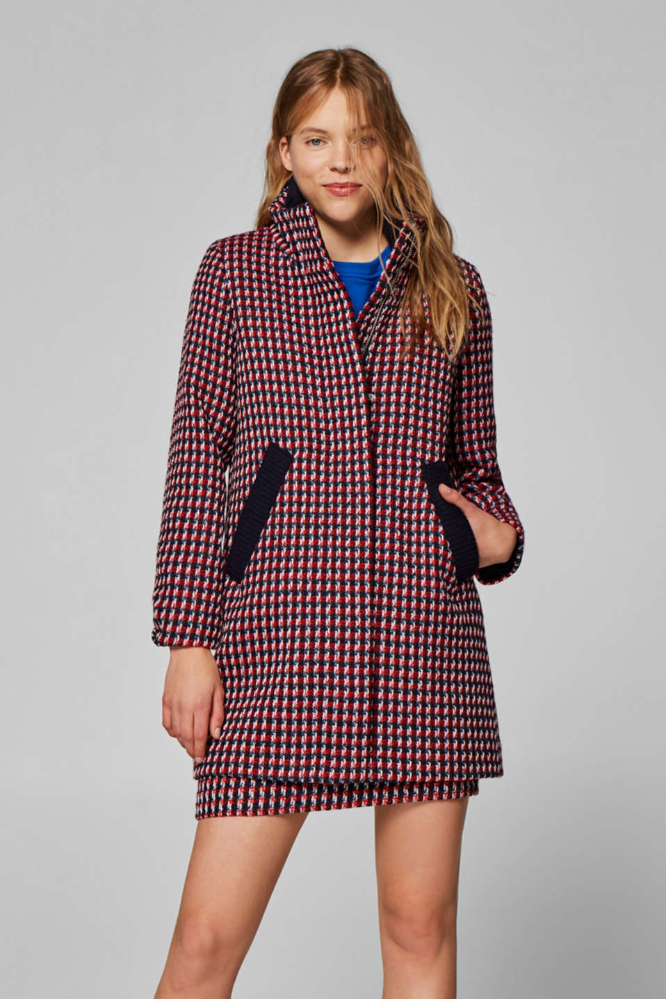 Esprit - Wool blend: A-line checked tweed coat