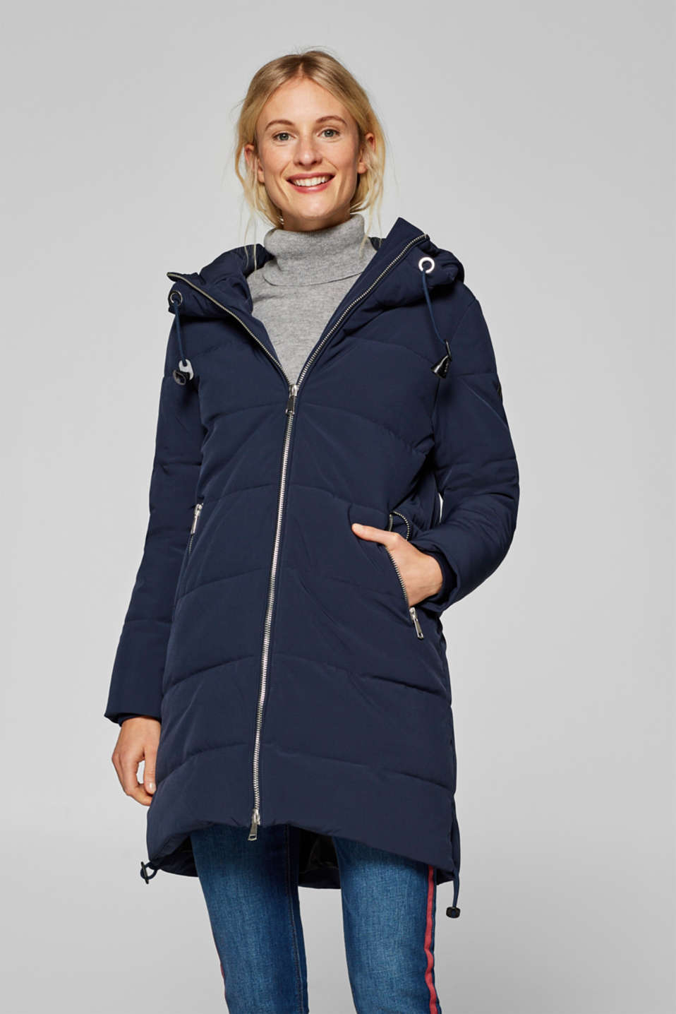Esprit - Warmly padded quilted coat with a hood