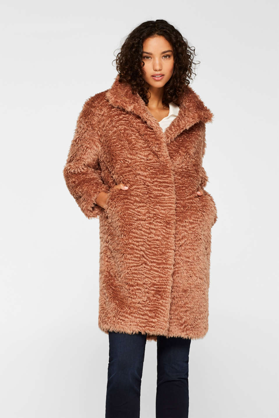 Esprit - Faux fur coat with a stand-up collar