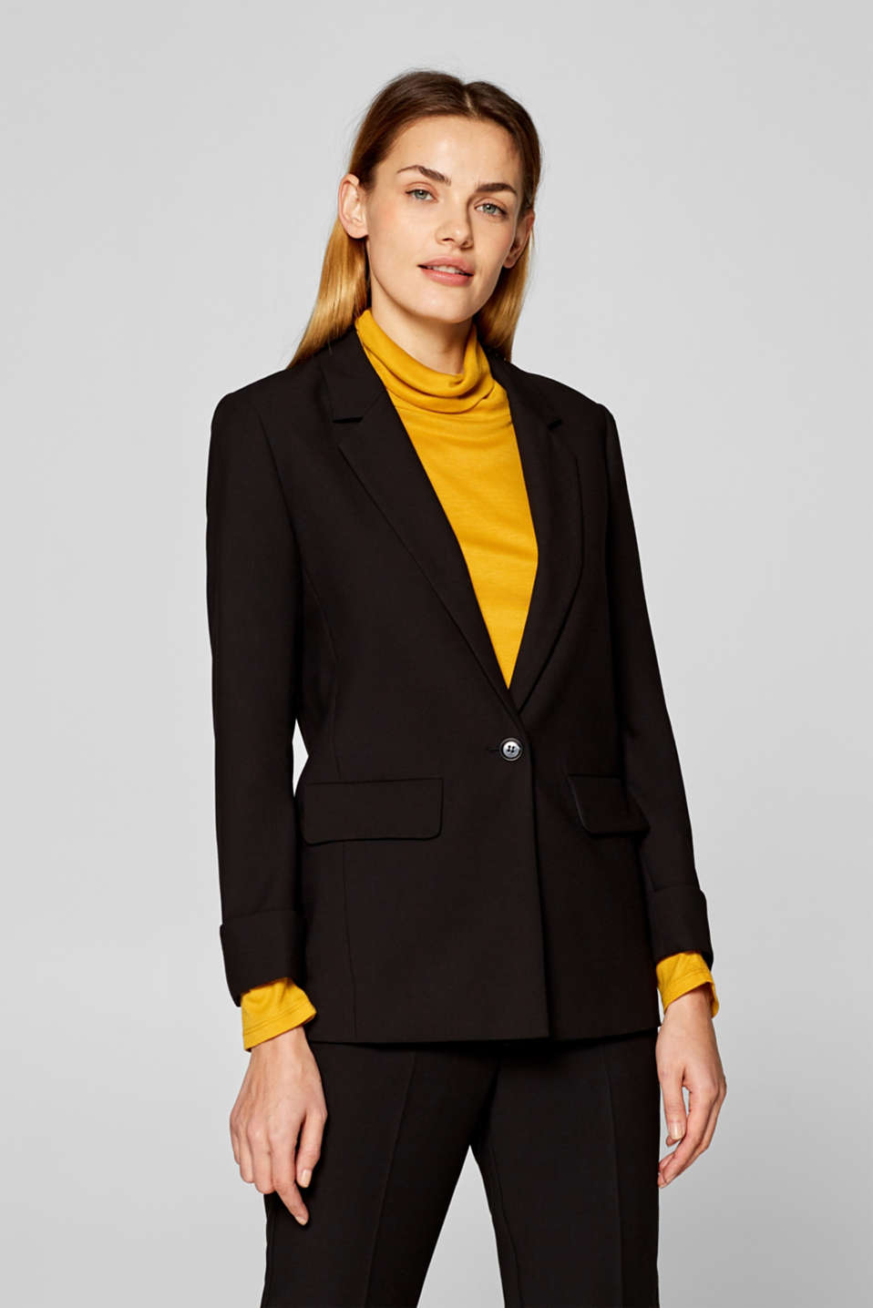 Esprit - RELAX mix + match blazer met één knoop en stretch