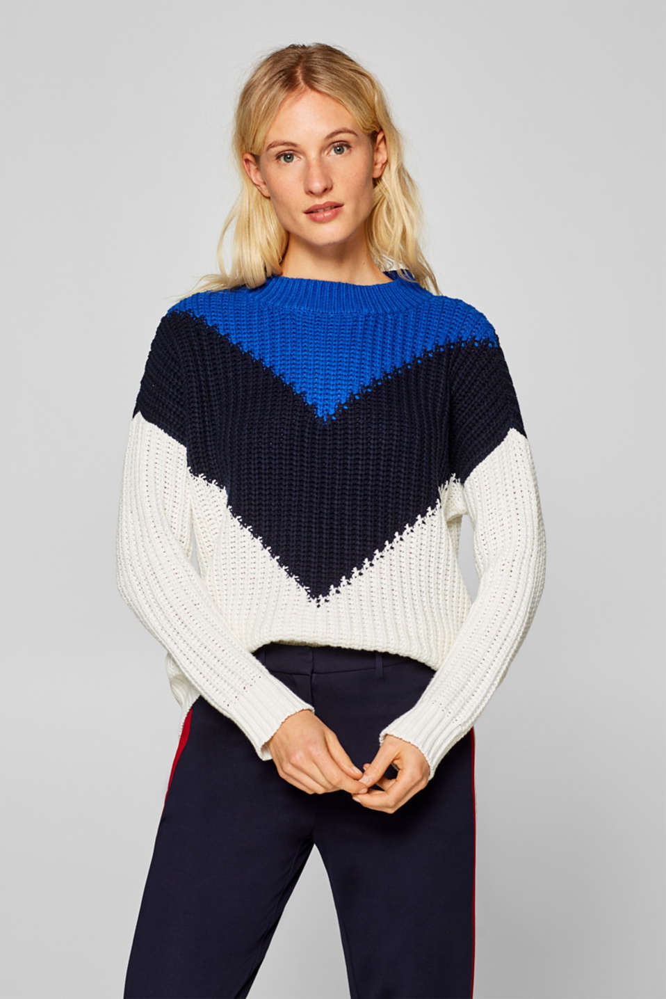 Esprit - Chunky knit jumper with colour blocking