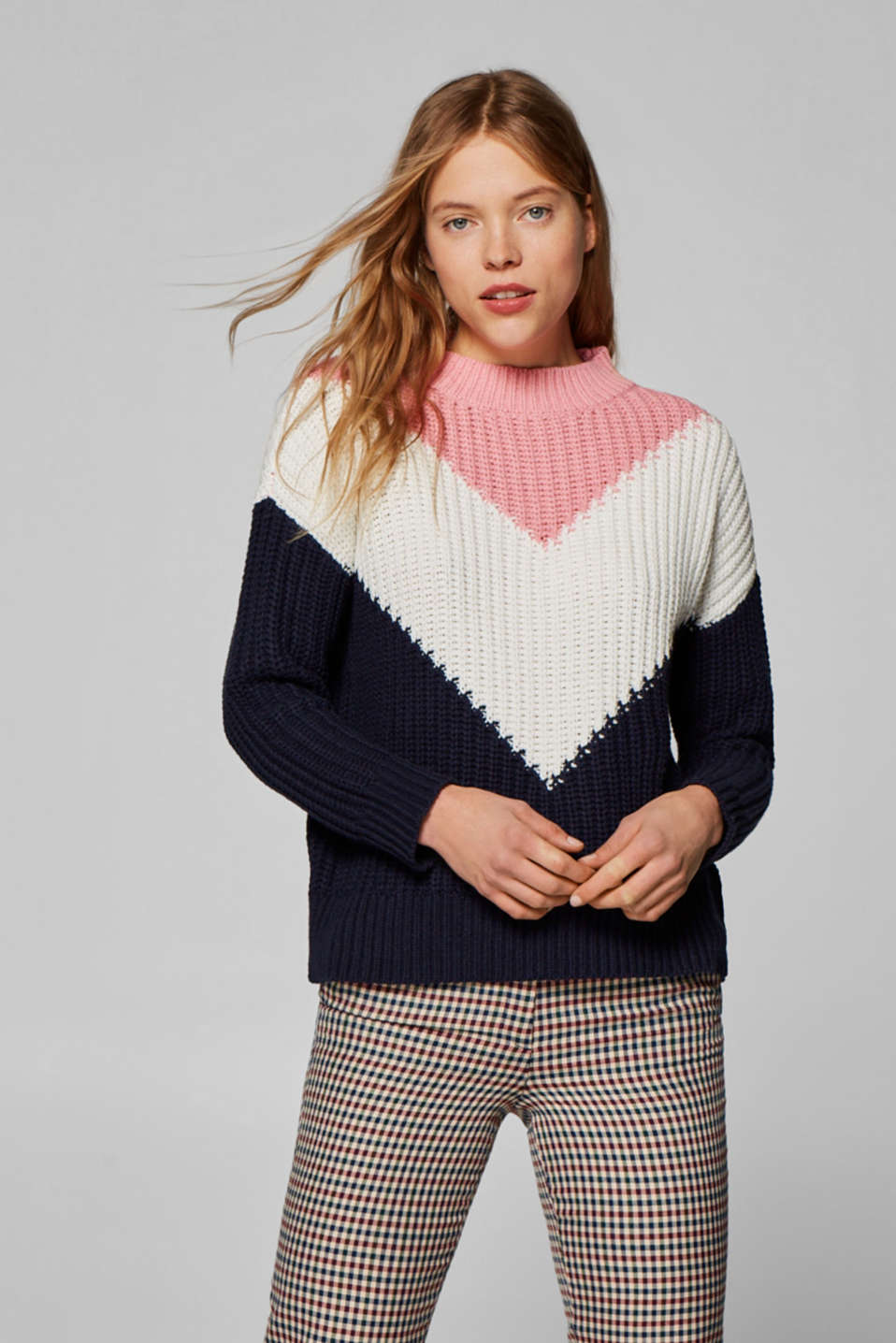 Esprit - Pull-over en grosse maille au look color block