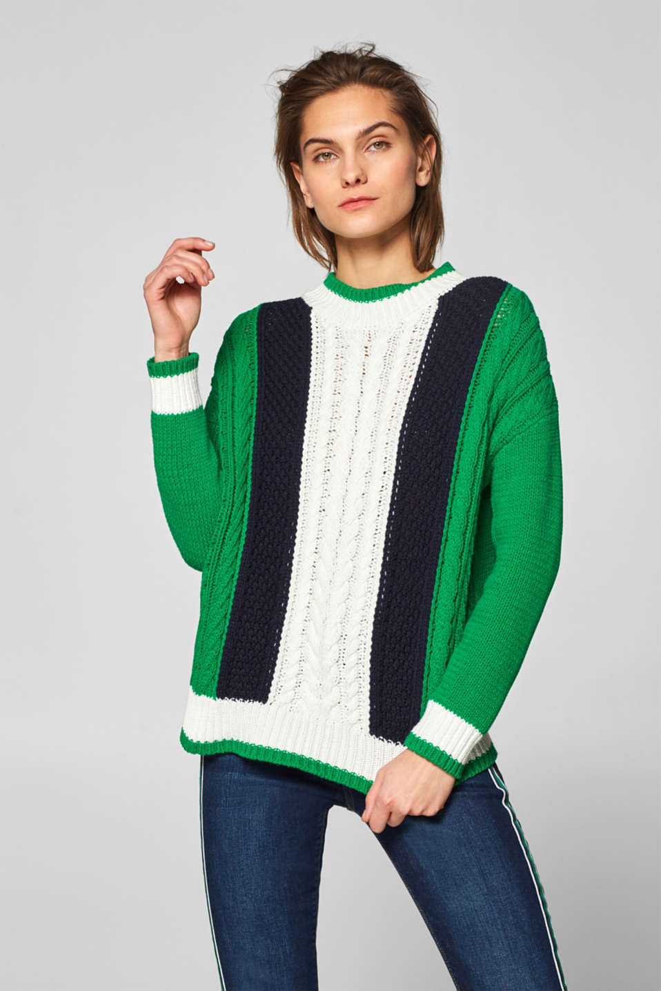 Esprit - Blended cotton jumper with textured cable patterns