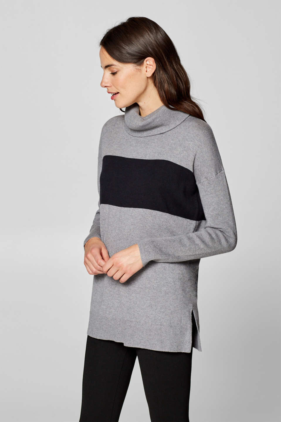 Esprit - Long polo neck jumper, plain or striped
