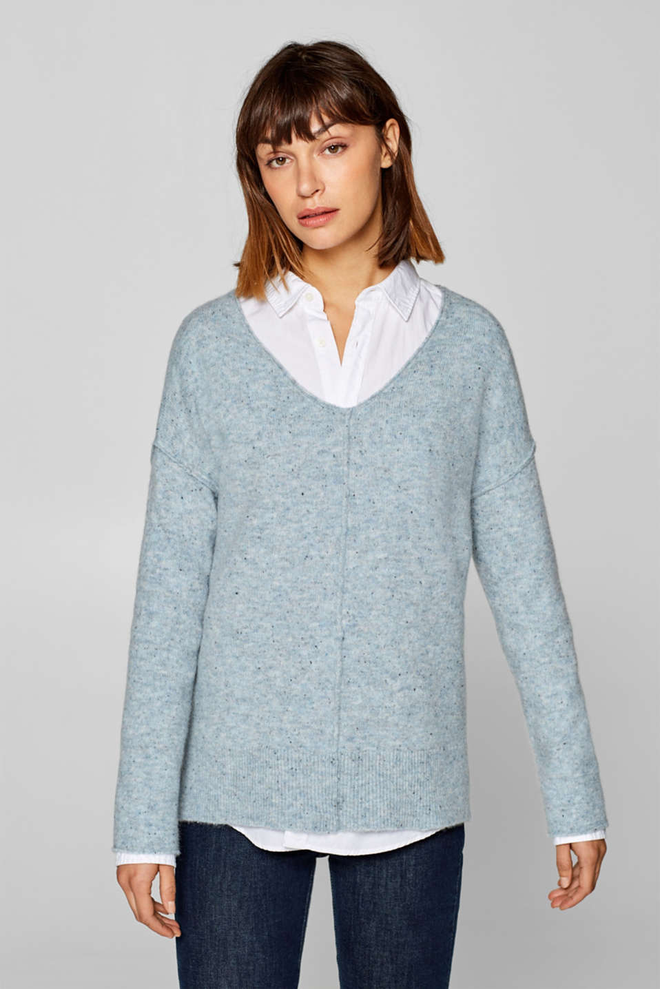 Esprit - Made of blended wool: Melange jumper with decorative stitching