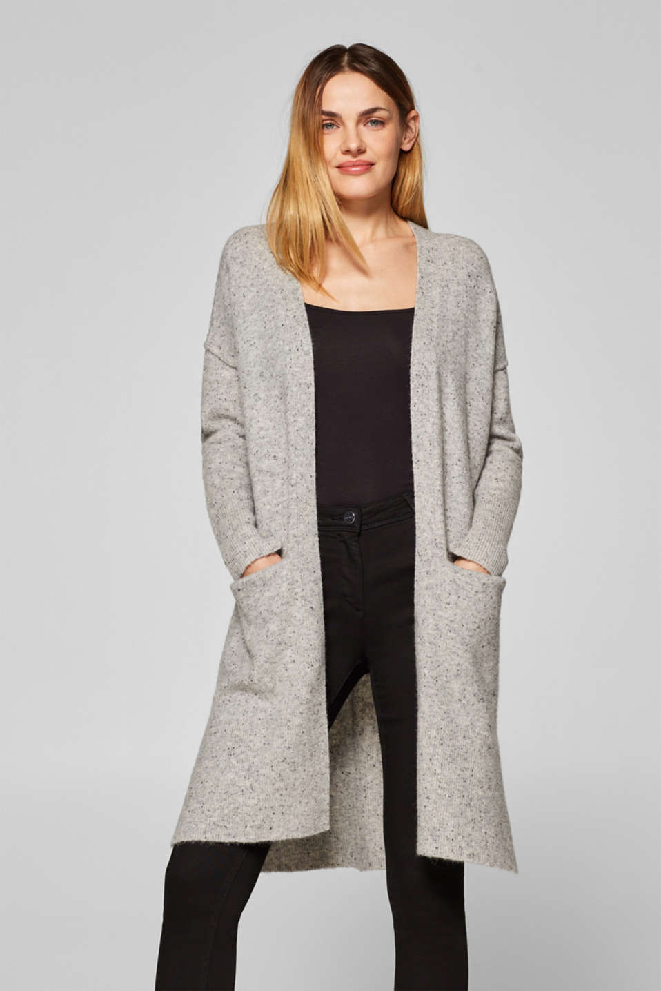 Esprit - Made of blended wool: long melange cardigan with added stretch