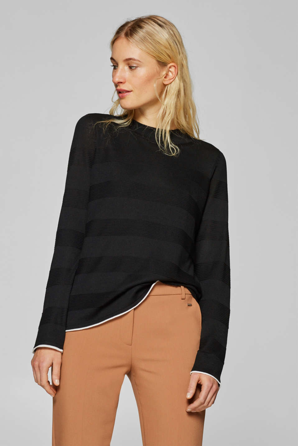 Esprit - Jumper with textured stripes