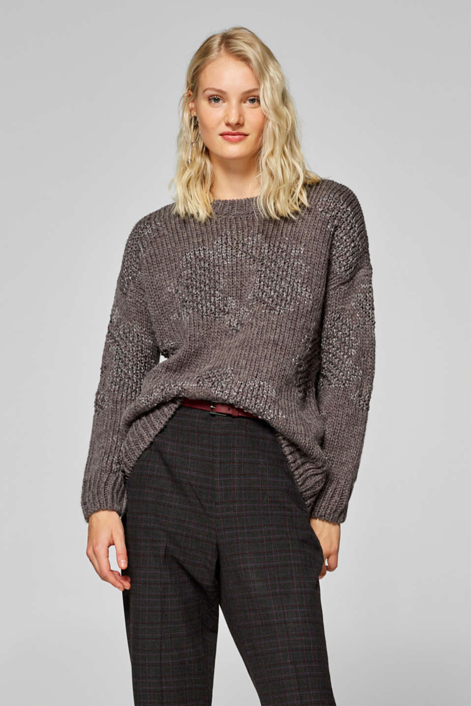 Esprit - With wool: Jumper with glitter texture