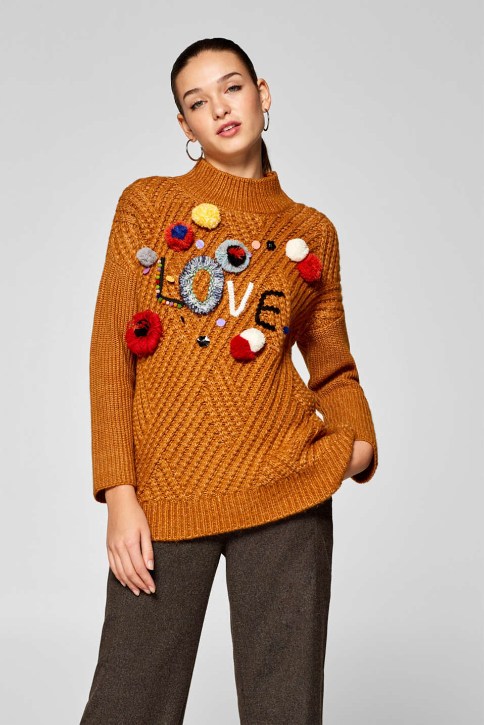Esprit - Containing wool: knitted jumper with appliqués