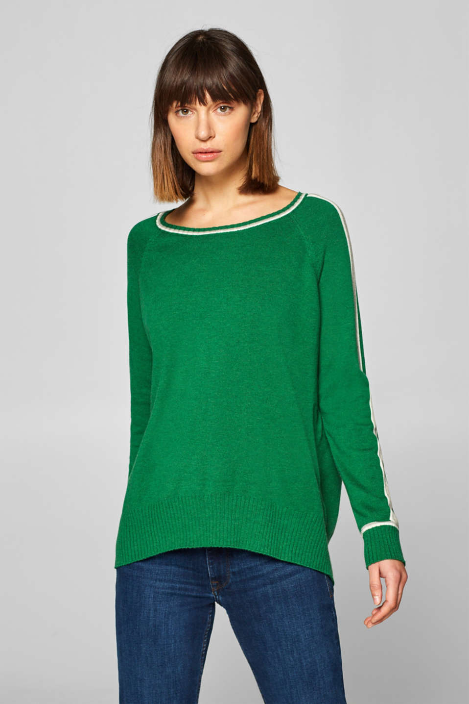 Esprit - Containing wool: jumper with contrasting stripes