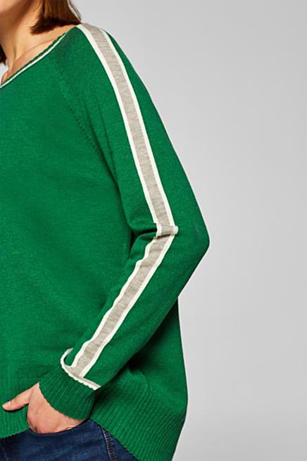 Mit Wolle  Pullover mit Kontraststreifen · Grün GREEN  Blau NAVY  Schwarz  BLACK 7ea85beb17
