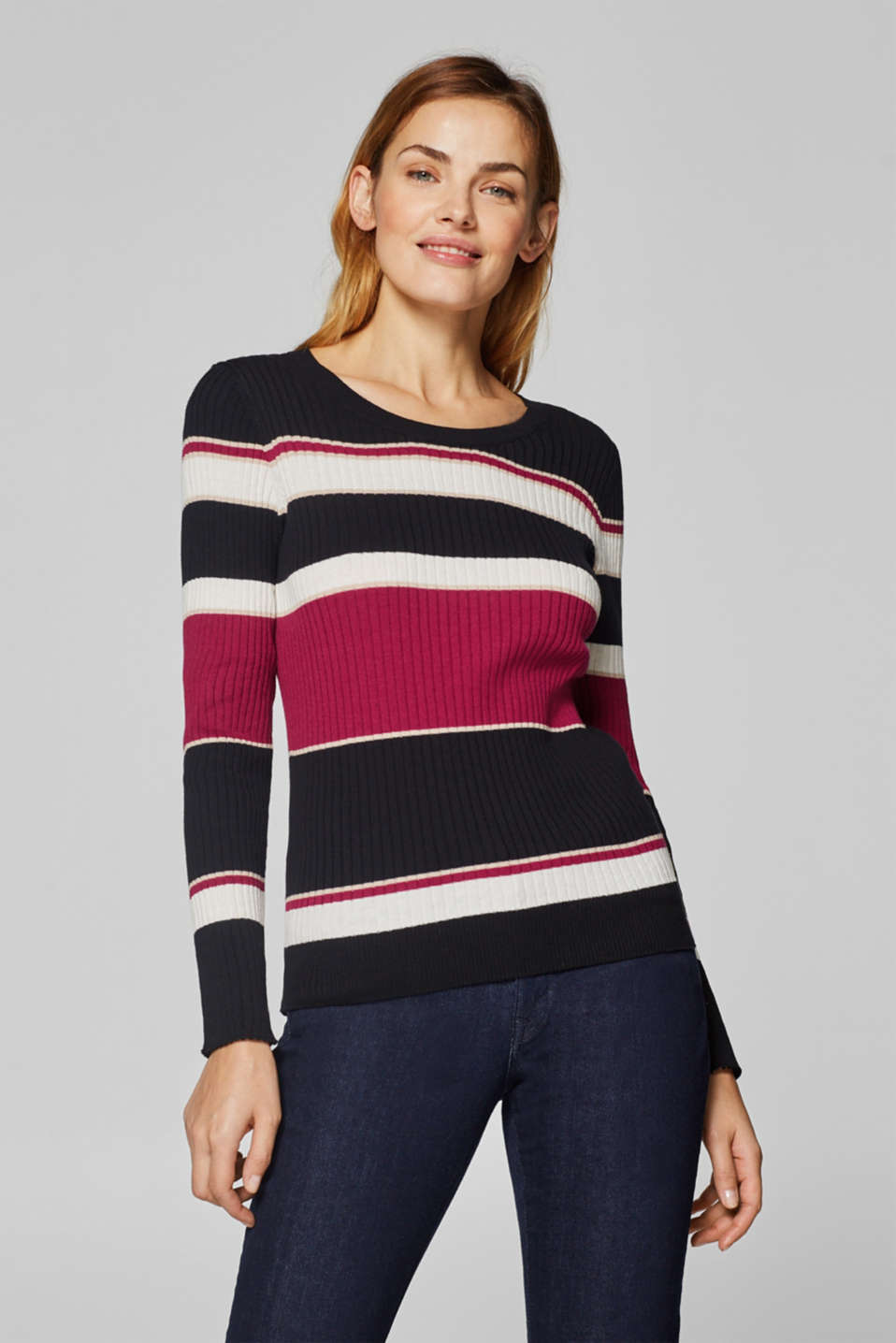 Esprit - Long sleeve ribbed T-shirt with colour blocking, 100% cotton