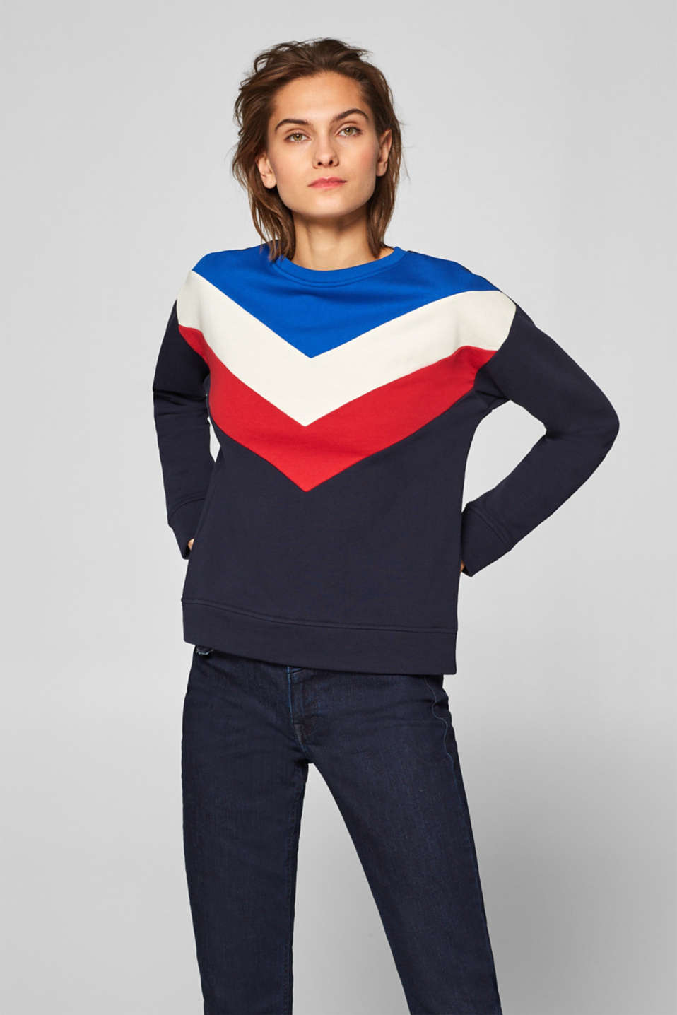 Esprit - Sweatshirt in a colour block design, 100% cotton