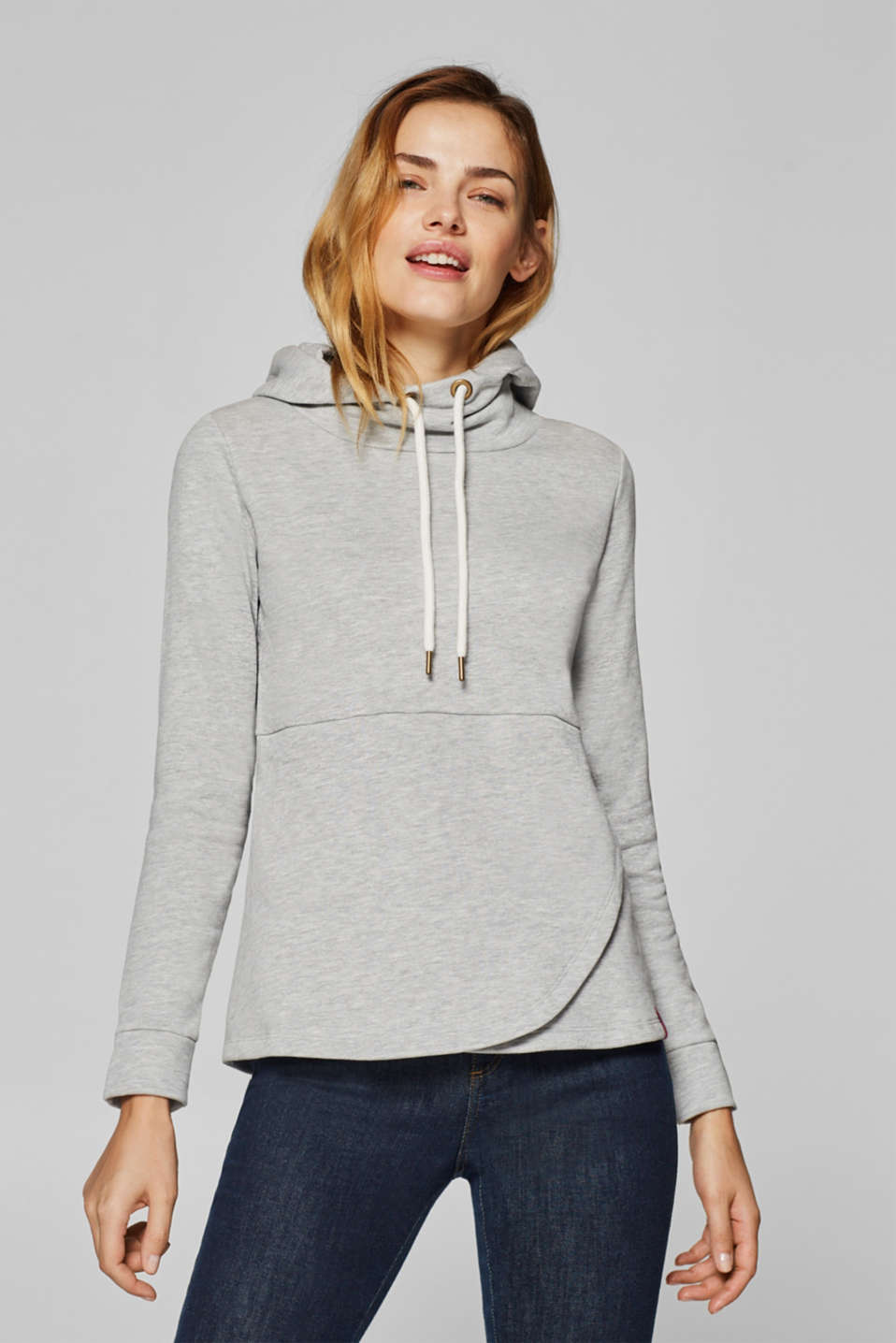 Esprit - Sweatshirt mit Kapuze in Wickel-Optik