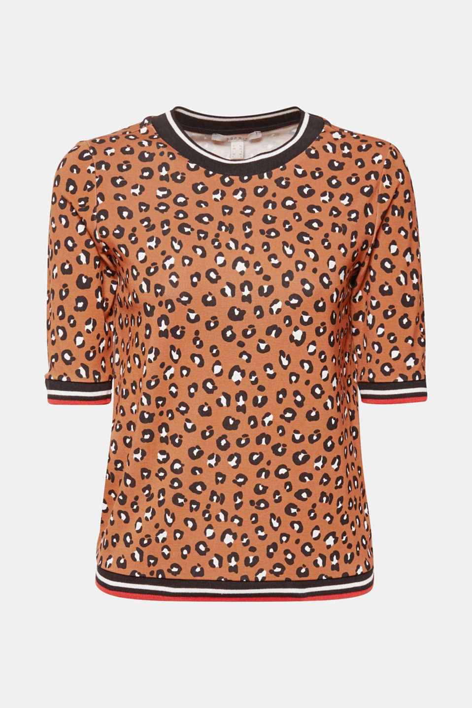 Leopard top with stretch and stripes