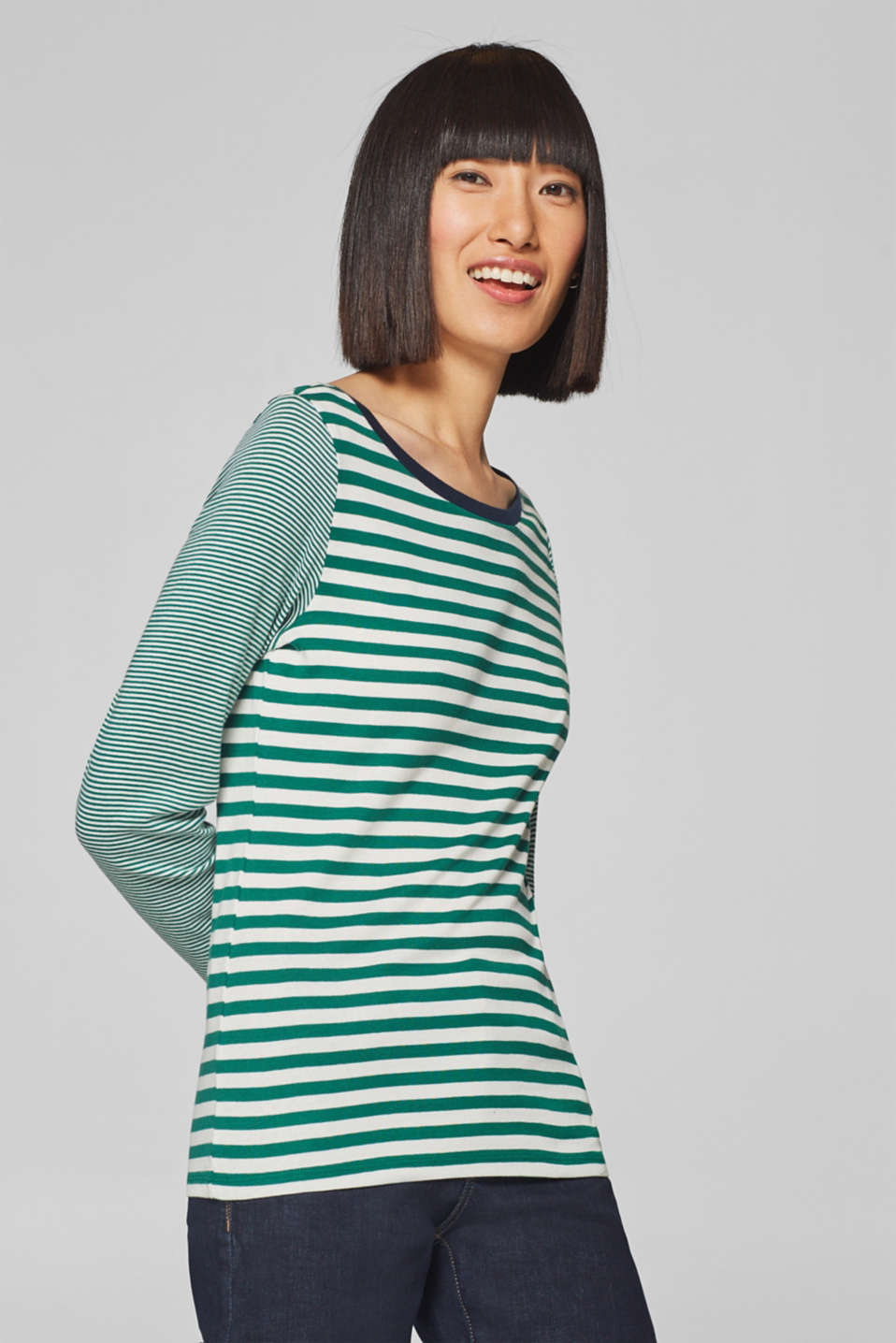 Esprit - Long sleeve top with stripes and organic cotton