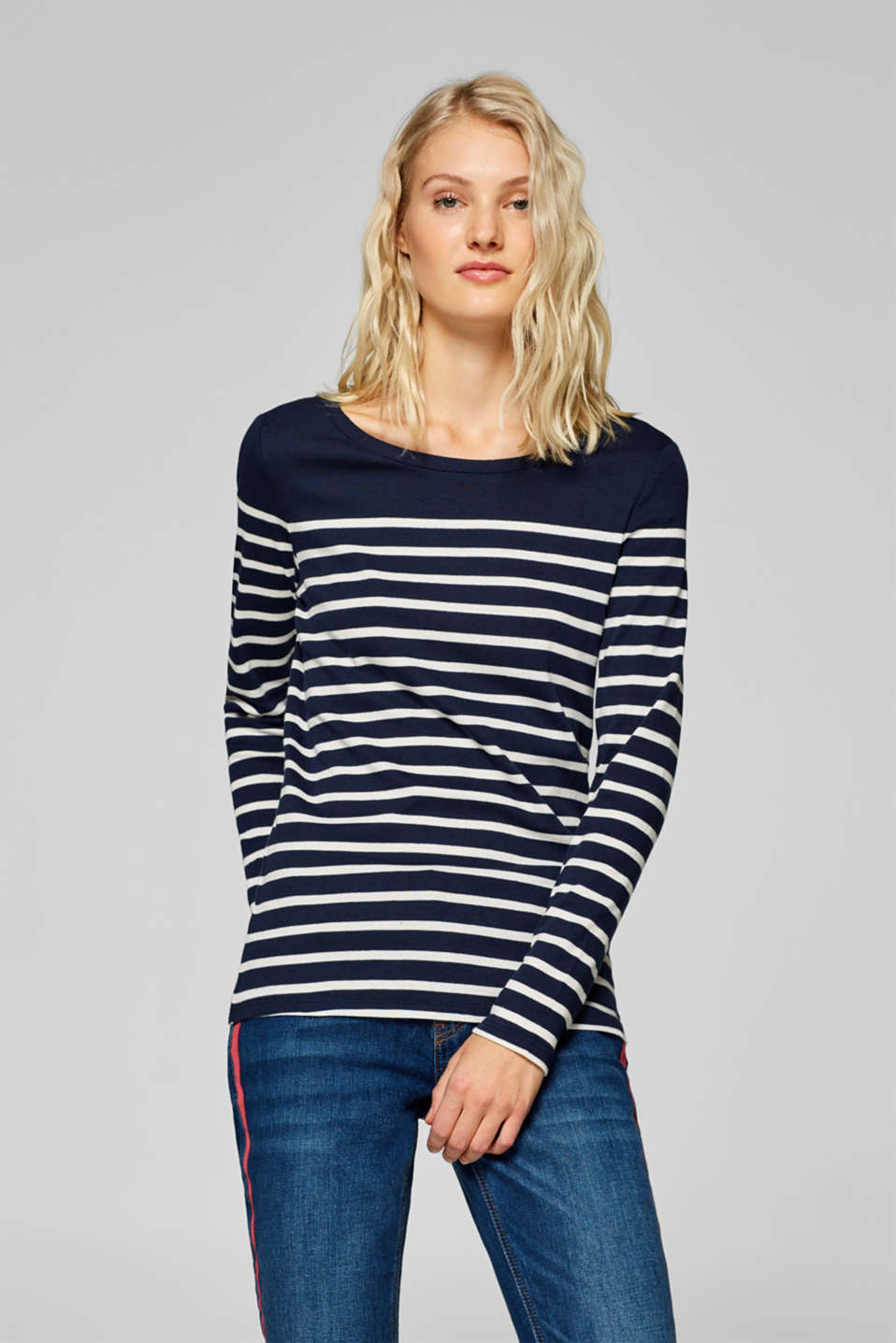 Esprit - Striped cotton T-shirt with organic cotton