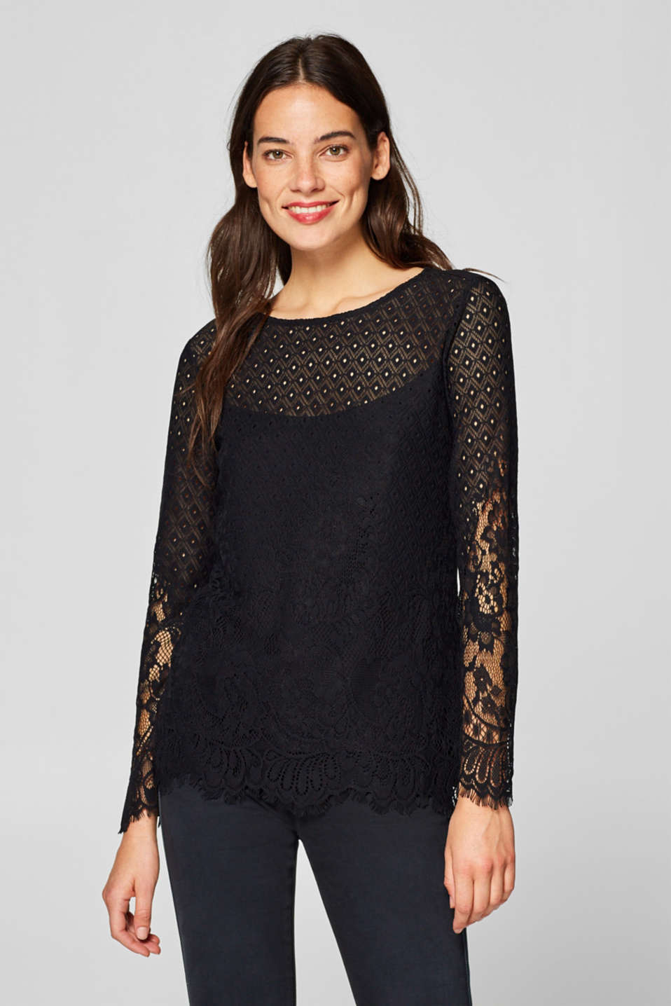 Esprit - Long sleeve layered top with two kinds of lace