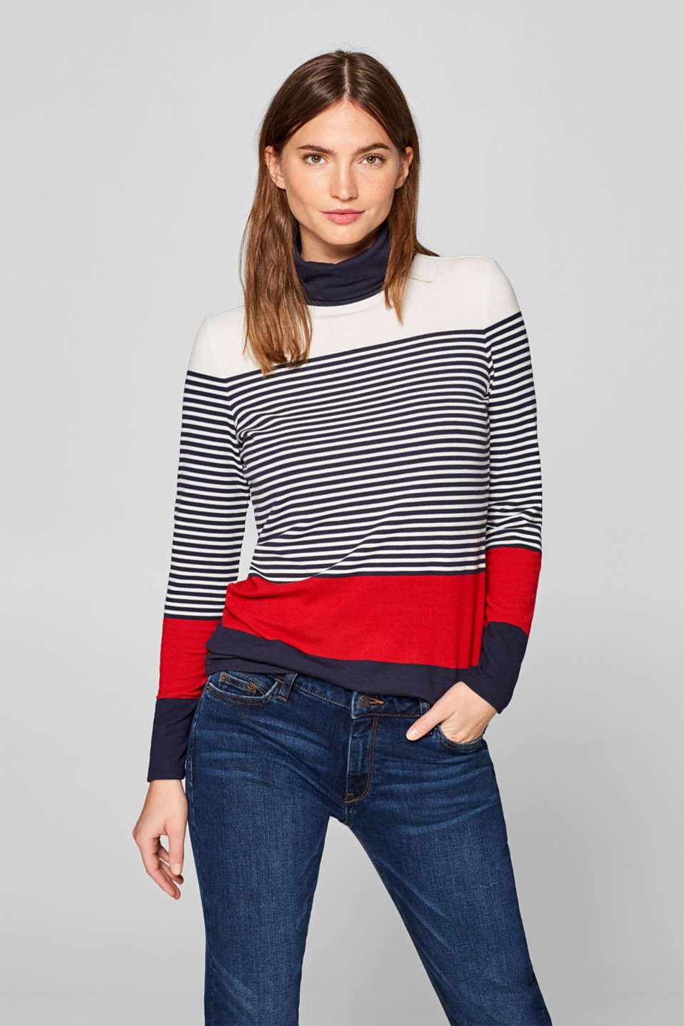 Esprit - Colour block stretch long sleeve top with roll neck collar